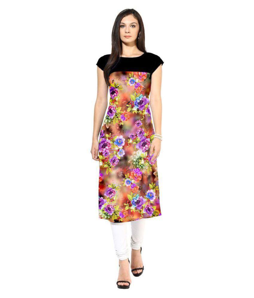 Rinky Fashion Multicoloured Crepe Straight Kurti