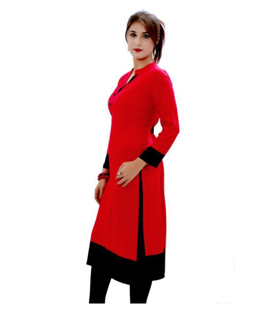 Rinky Fashion Red Crepe Straight Kurti