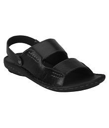 Red Tape Men Leather Black Sandals