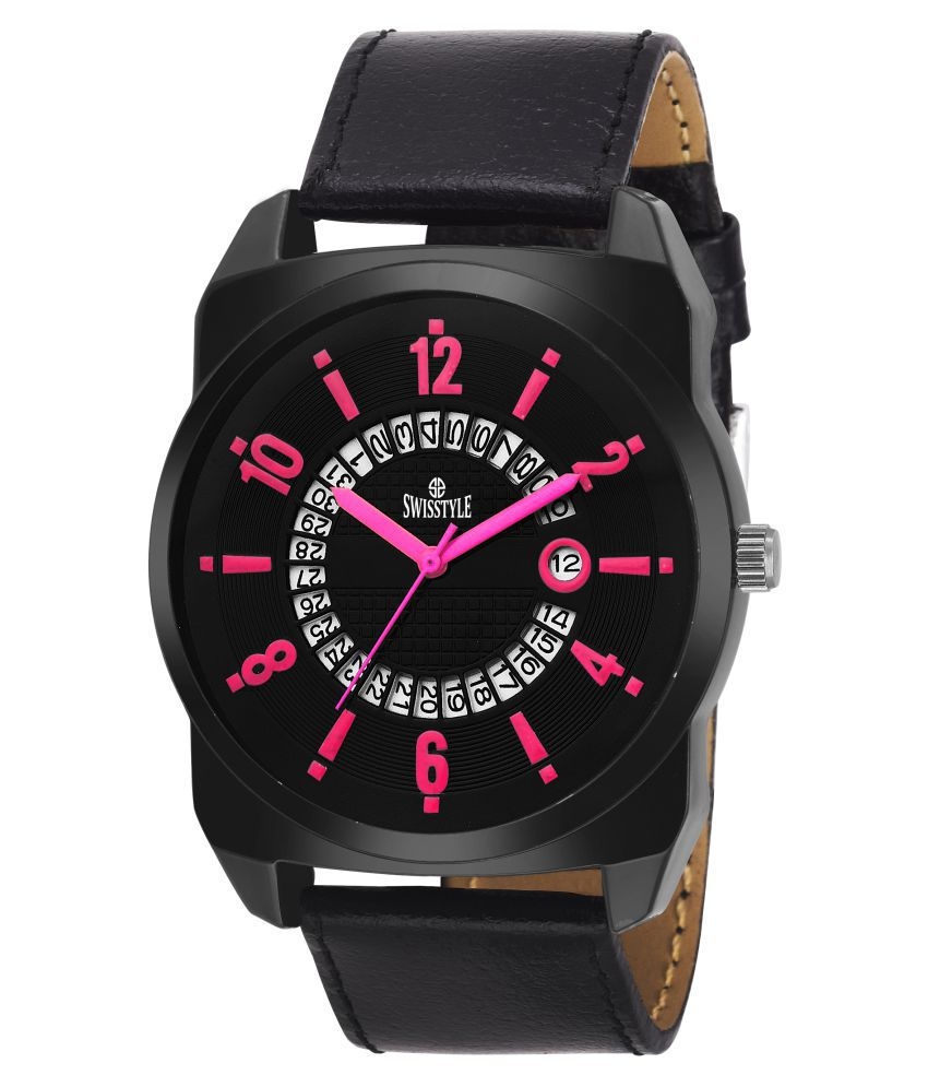 Swisstyle analogue watches for mens SS GR641 PNK BLK