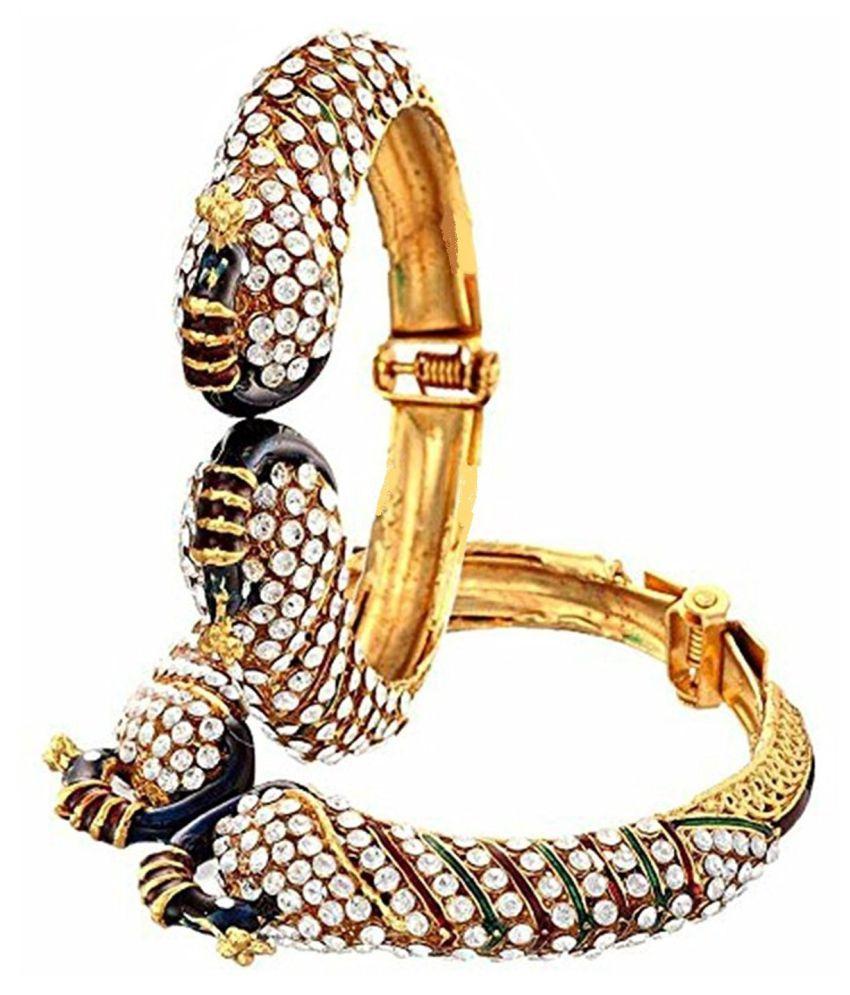 Aabhu Peacock American Diamond Studded Antique Gold Plated Bangle kada Bracelet Set Jewellery For Women And Girl