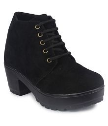 Do Bhai Black Ankle Length Bootie Boots