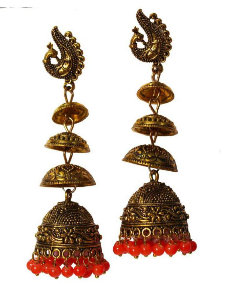 Antique Gold Metal Jhumka Earrings 8.5 cm long big chandelier earring set with orange beads for wedding and Engagement party wear for girls and women.