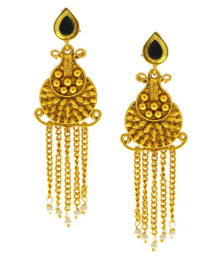 Anuradha Art Black Colour Designer Studded Stones Fancy Party Wear Traditional Long Earrings For Women/Girls
