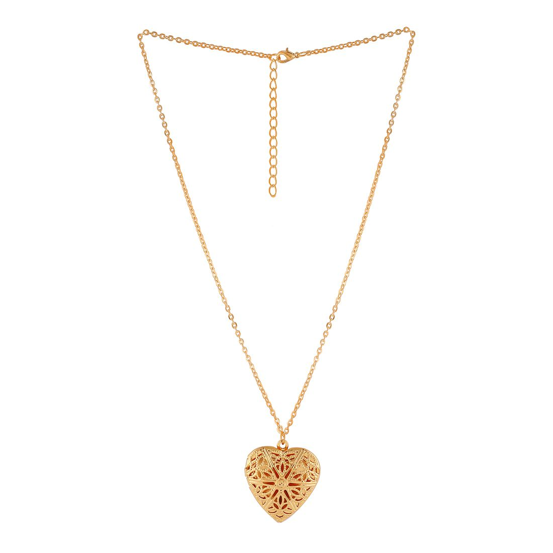 Golden Designer Heart Pendant Necklace