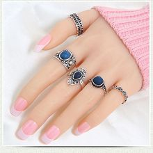 Stripes Presents Party wear 5 Piece Finger Ring Set with Blue Stone Ethnic Antique Oxidised Silver Plating Rings Set For Girl / Women