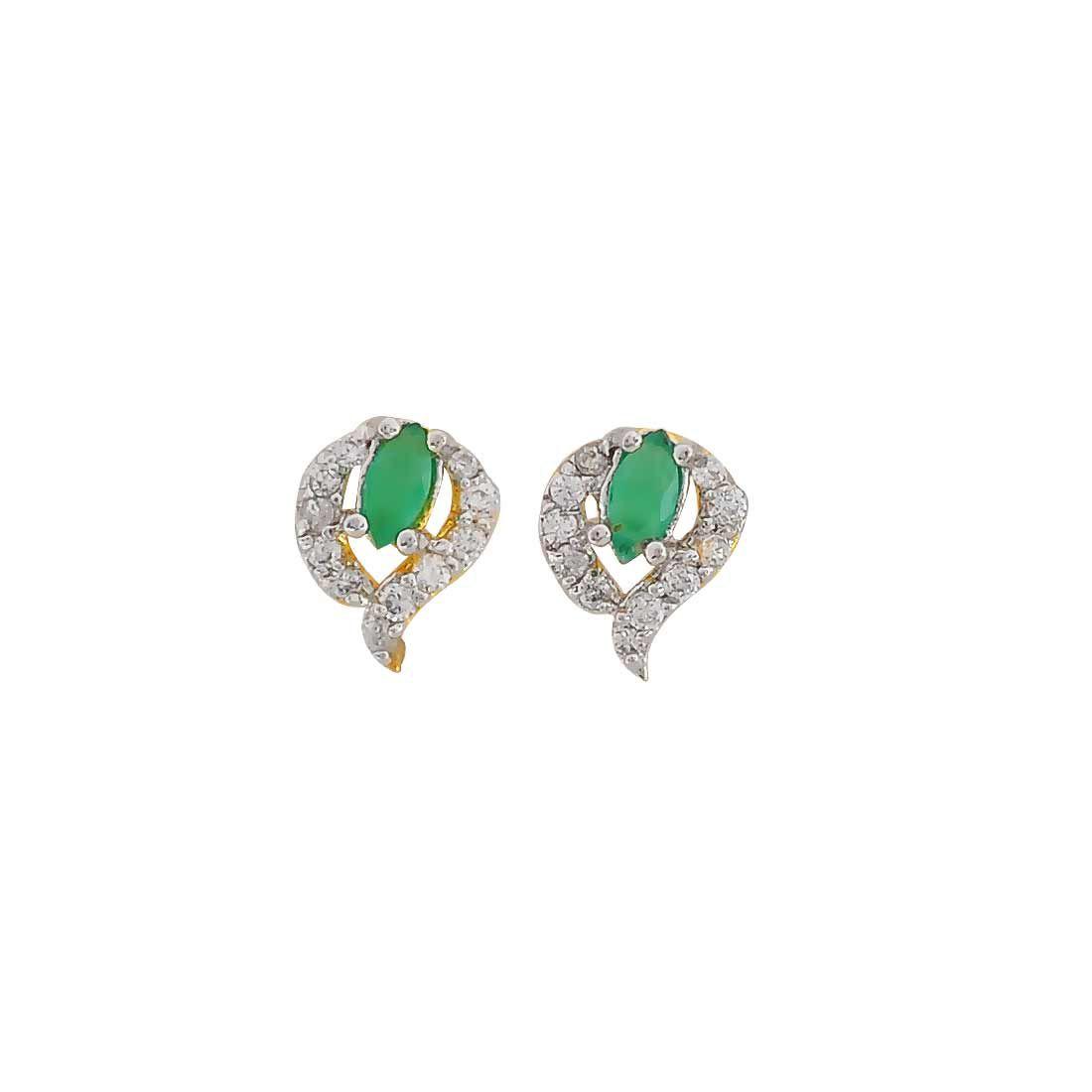 Maayra Dailywear Earrings Copper Ear Studs Green Cute CZ Jewellery