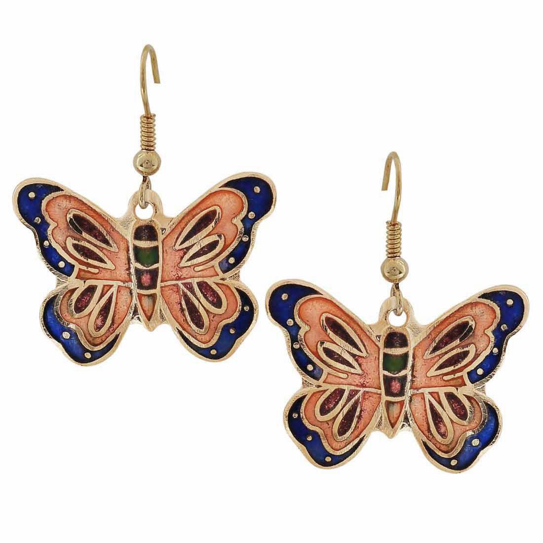 Maayra Party Earrings Alloy Dangler Drop Multicolour Meenakari Butterfly Jewellery