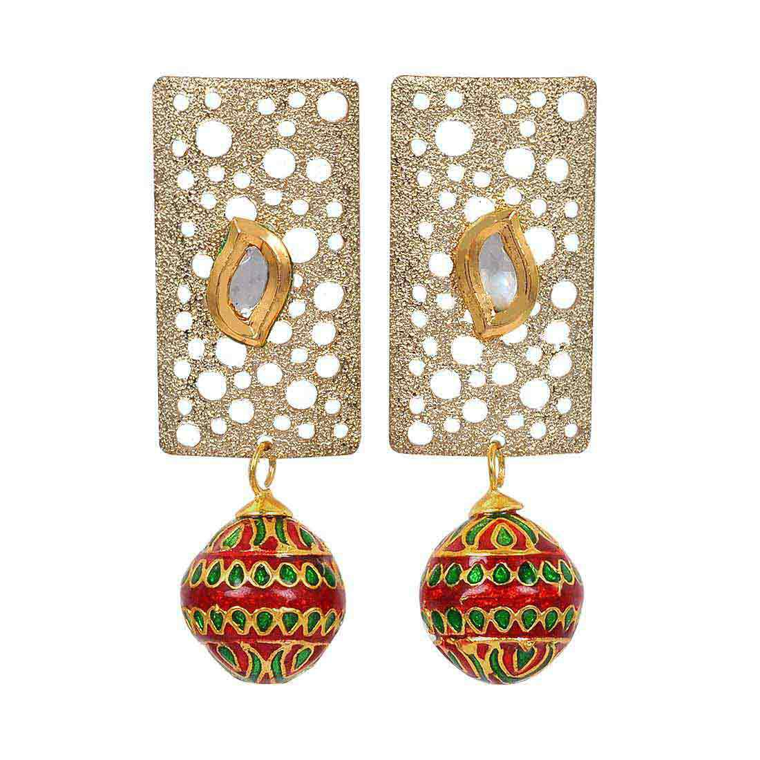 Maayra Wedding Earrings Brass Dangler Drop Maroon Green Kundan Meenakari Jewellery