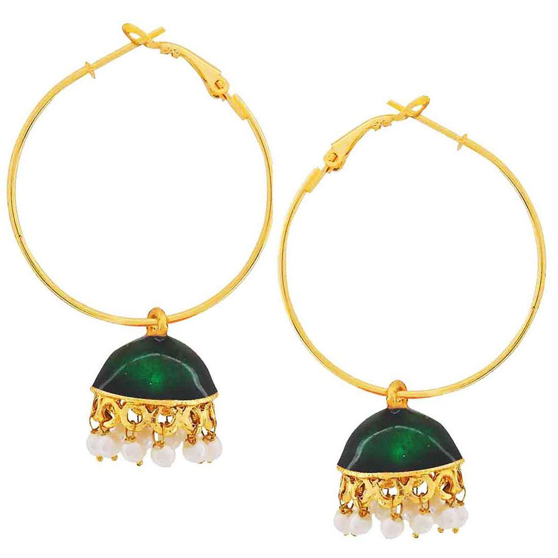 Maayra Wedding Earrings Copper Hoops Green White Meenakari Jhumki Jewellery