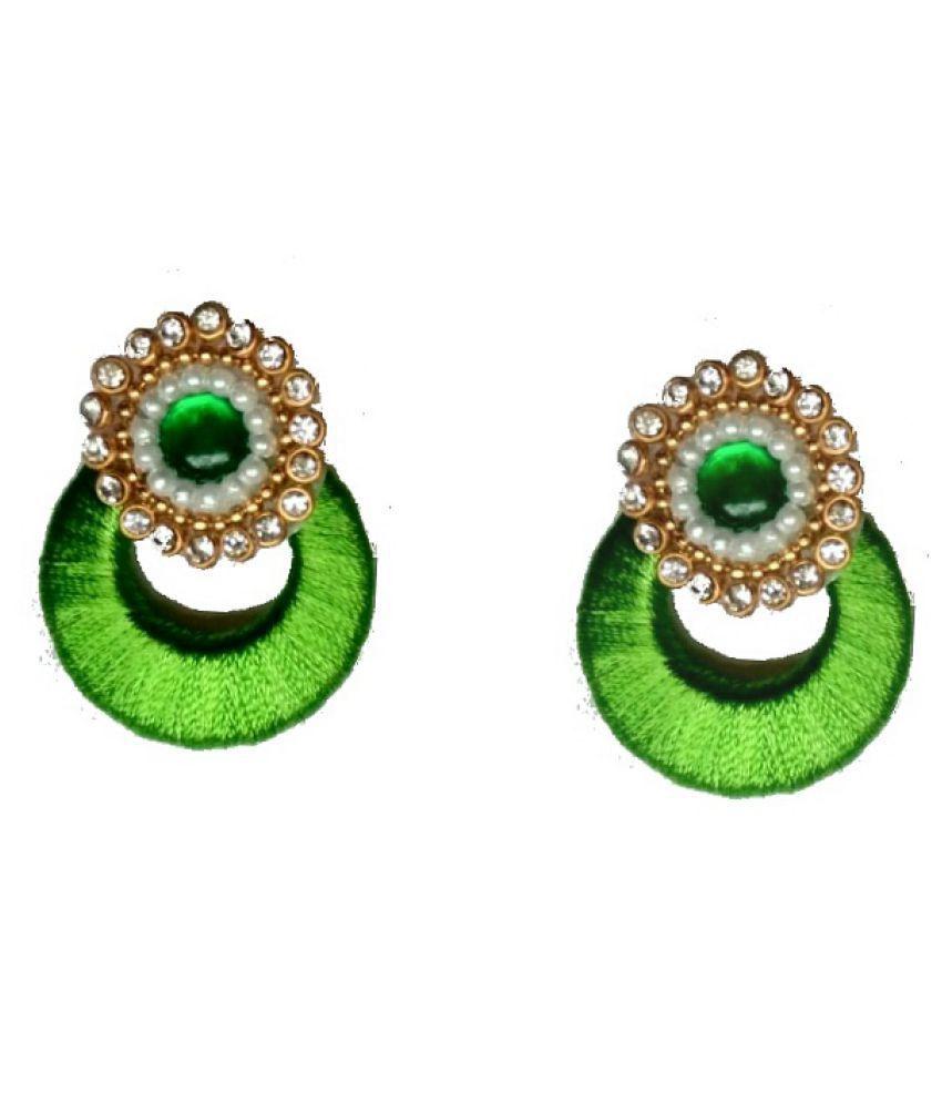 Fashionable Green  Silk Thread earrings for women & Girls by shrungarika