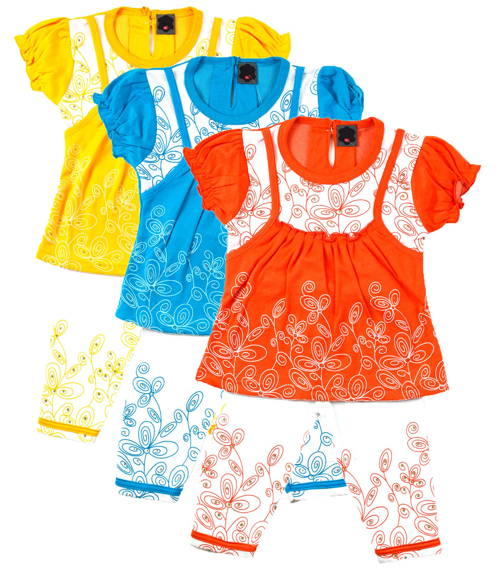 Elk Baby Girl Cotton Top With Printed Pant 3 Set bo Yellow Blue