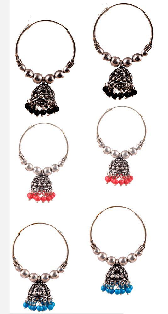 Amaira Women's Non Precious Brass Metal Dangle and Drop Earrings -(Set of 3)- Multi Color