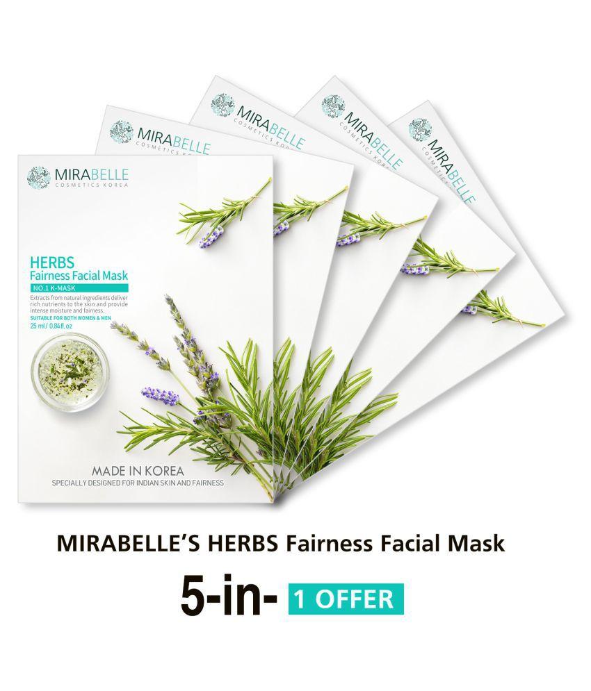MIRABELLE KOREA Herbs Fairness Face Mask Each 25 ml Pack of 5