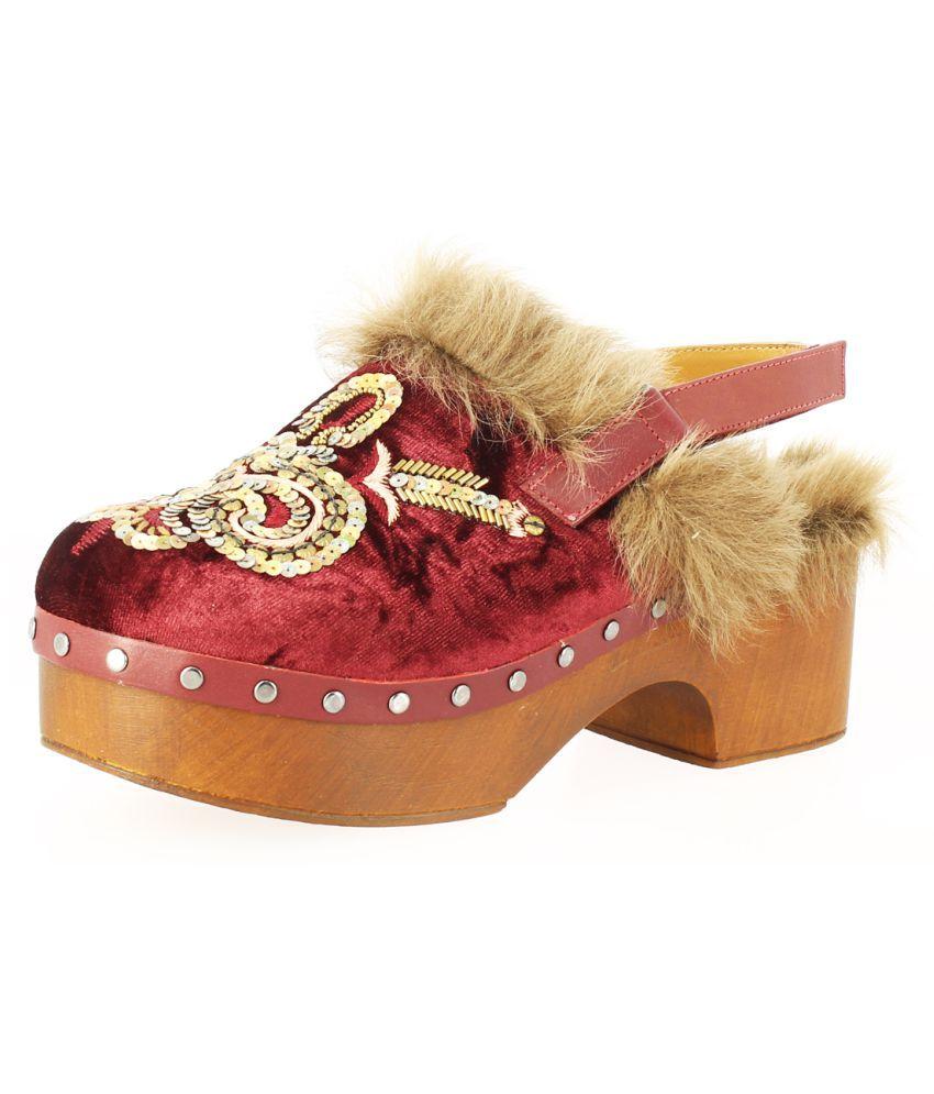 Saint G Leather Red Block Heels