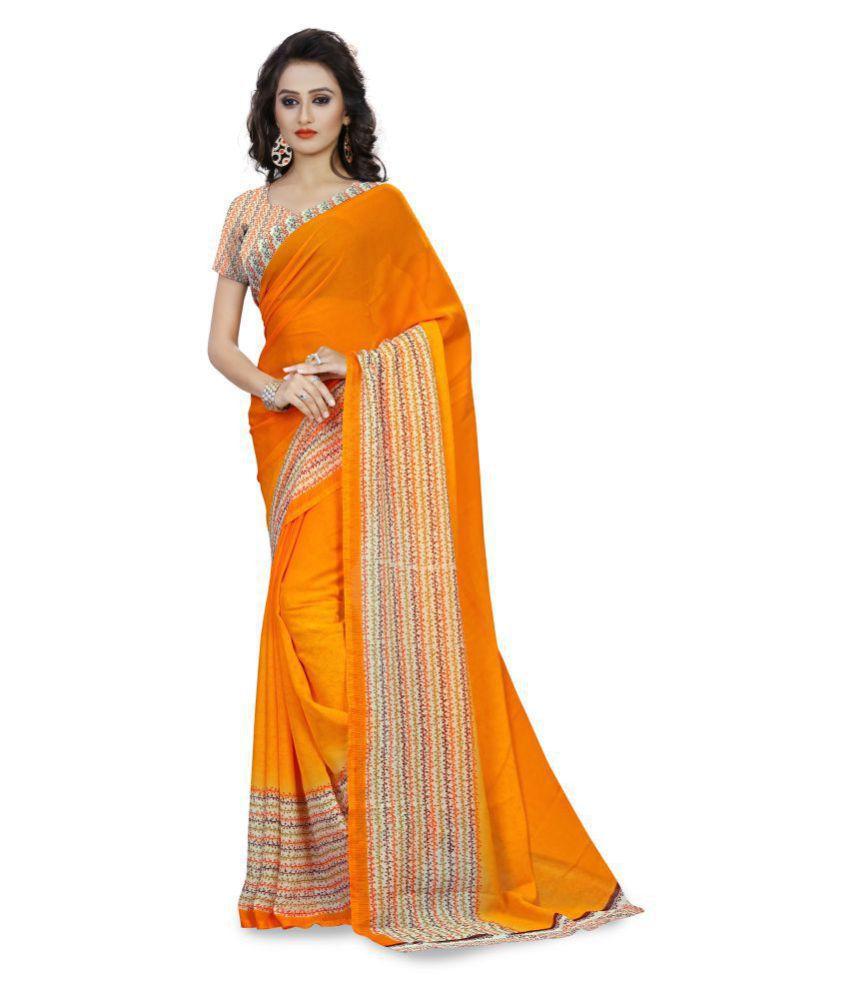Urban India Orange Georgette Saree