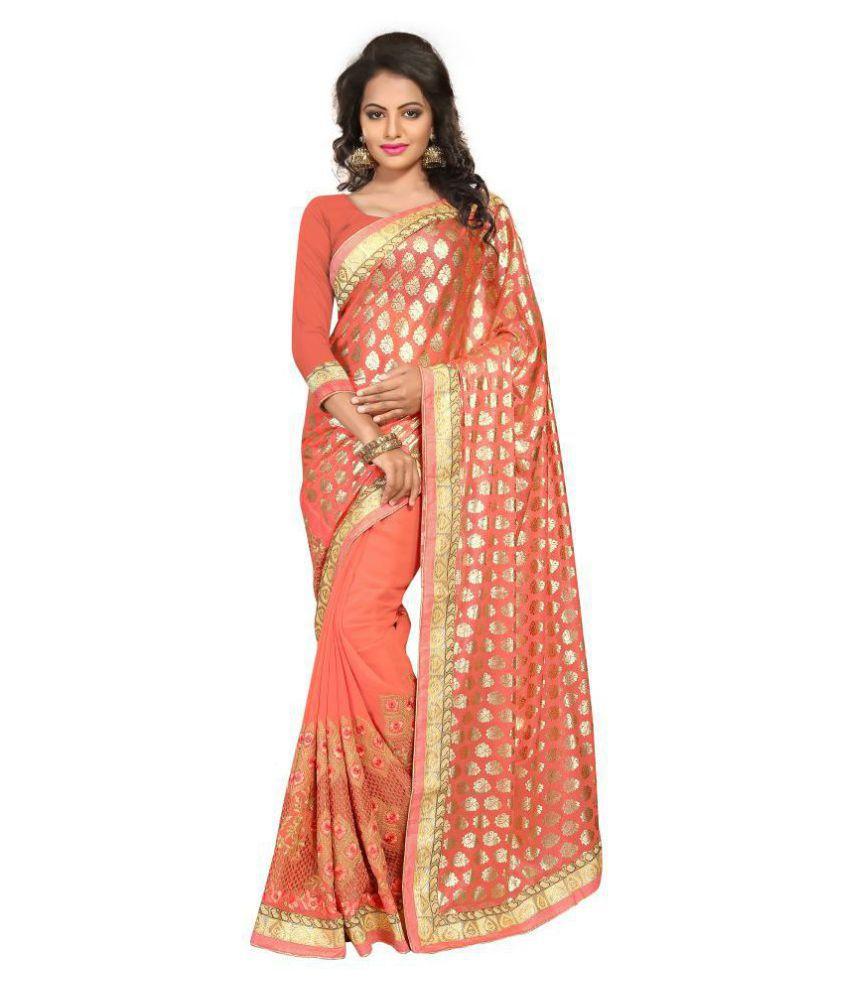 Urban India Orange Lycra Saree