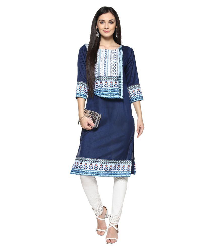 Ziyaa Blue Polyester Straight Kurti
