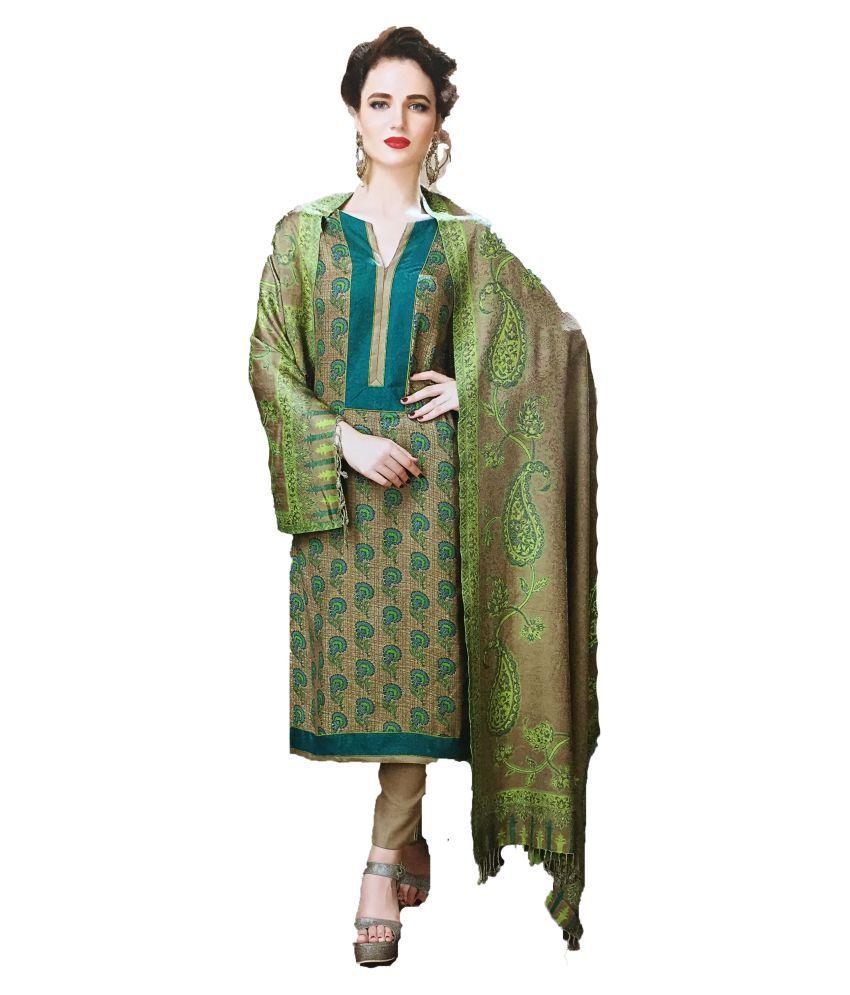 Rivaa Beige Woollen Dress Material