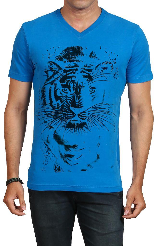 IND TWIST Blue V-Neck T-Shirt Pack of 1
