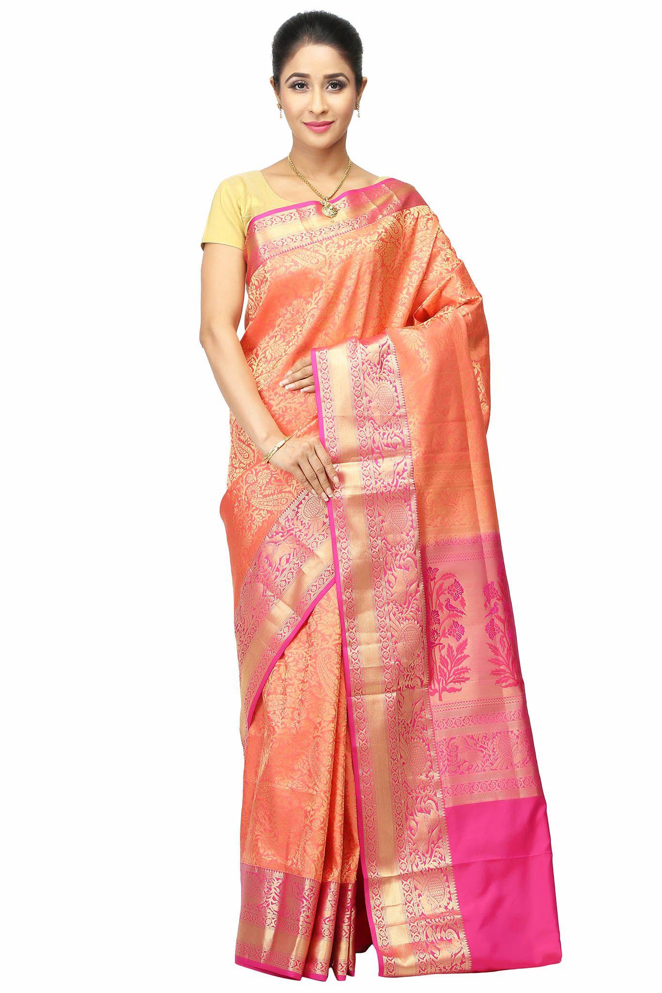 India Sari House Peach Silk Saree