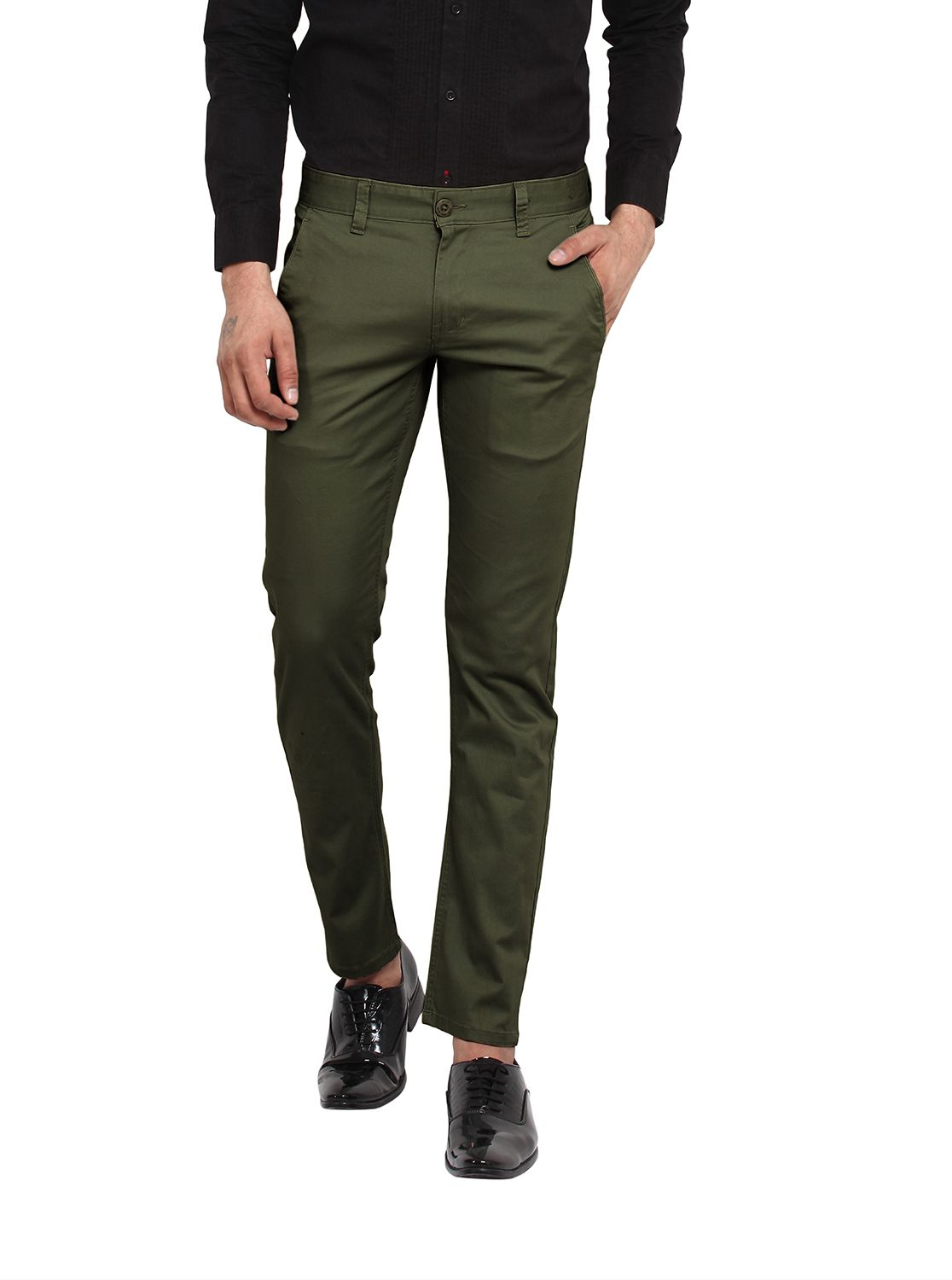 Wear Your Mind Green Slim -Fit Flat Chinos