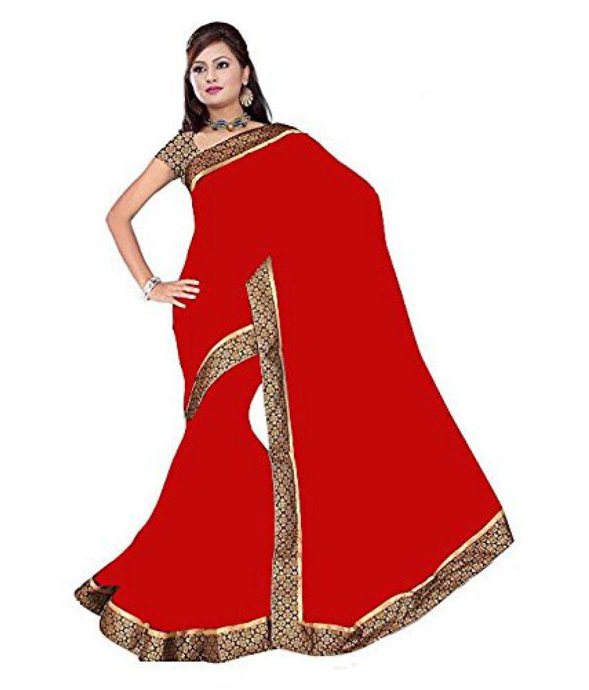 Dhyey Fashion Red Chiffon Saree