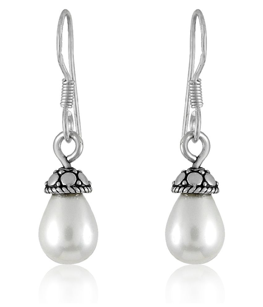 Miska Silver 92.5 Silver Pearl Drop Earrings