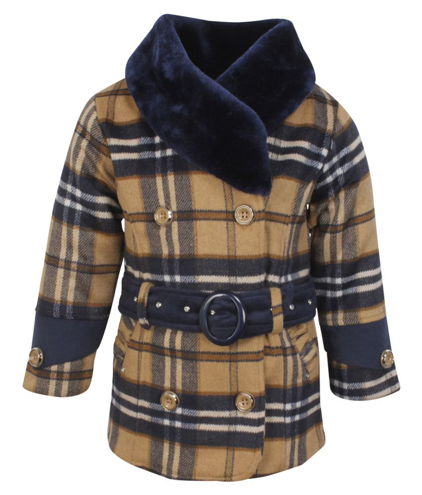 Cutecumber Girls Partywear Tweed Coat Fabric Winter Jacket