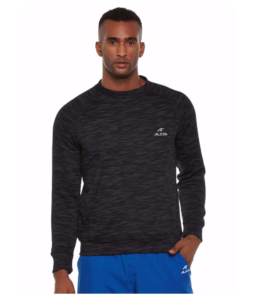Alcis Men Black Full Sleeve Sweatshirt