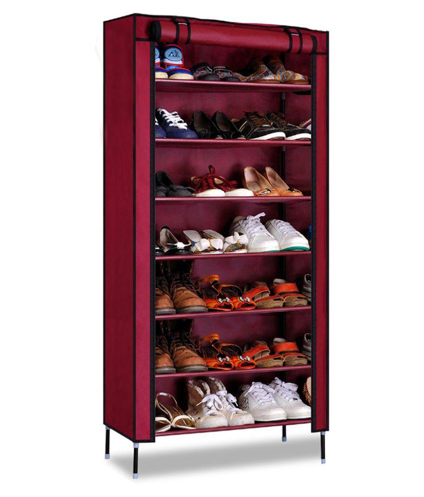 Kawachi Multipurpose Shelf Shoe Storage With 7 Layer Shoe Stand Rack-Maroon