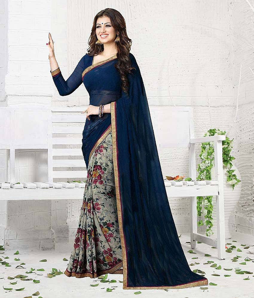 4af47b3e27 Gazal Fashions Blue and Grey Chiffon Saree - Buy Gazal Fashions Blue and Grey  Chiffon Saree Online at Low Price - Snapdeal.com