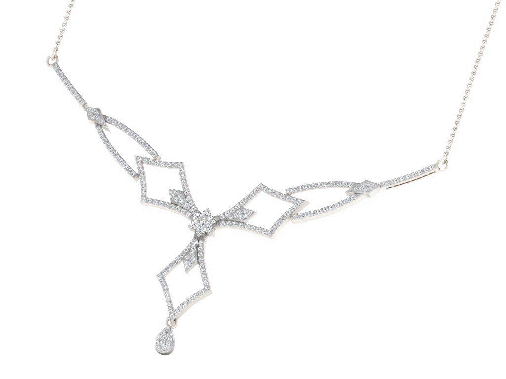 His & Her 9k White Gold Diamond Mangalsutra