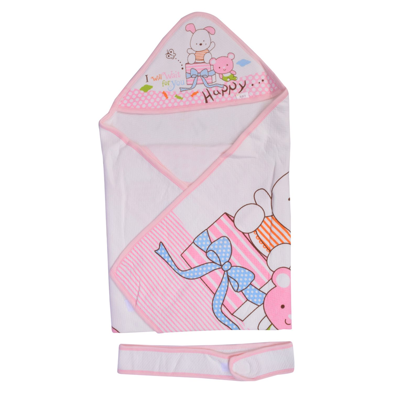 Momsyard Pink Fibre Lining Baby Wrap cum blanket ( 113 cm × 113 cm - 1 pcs)