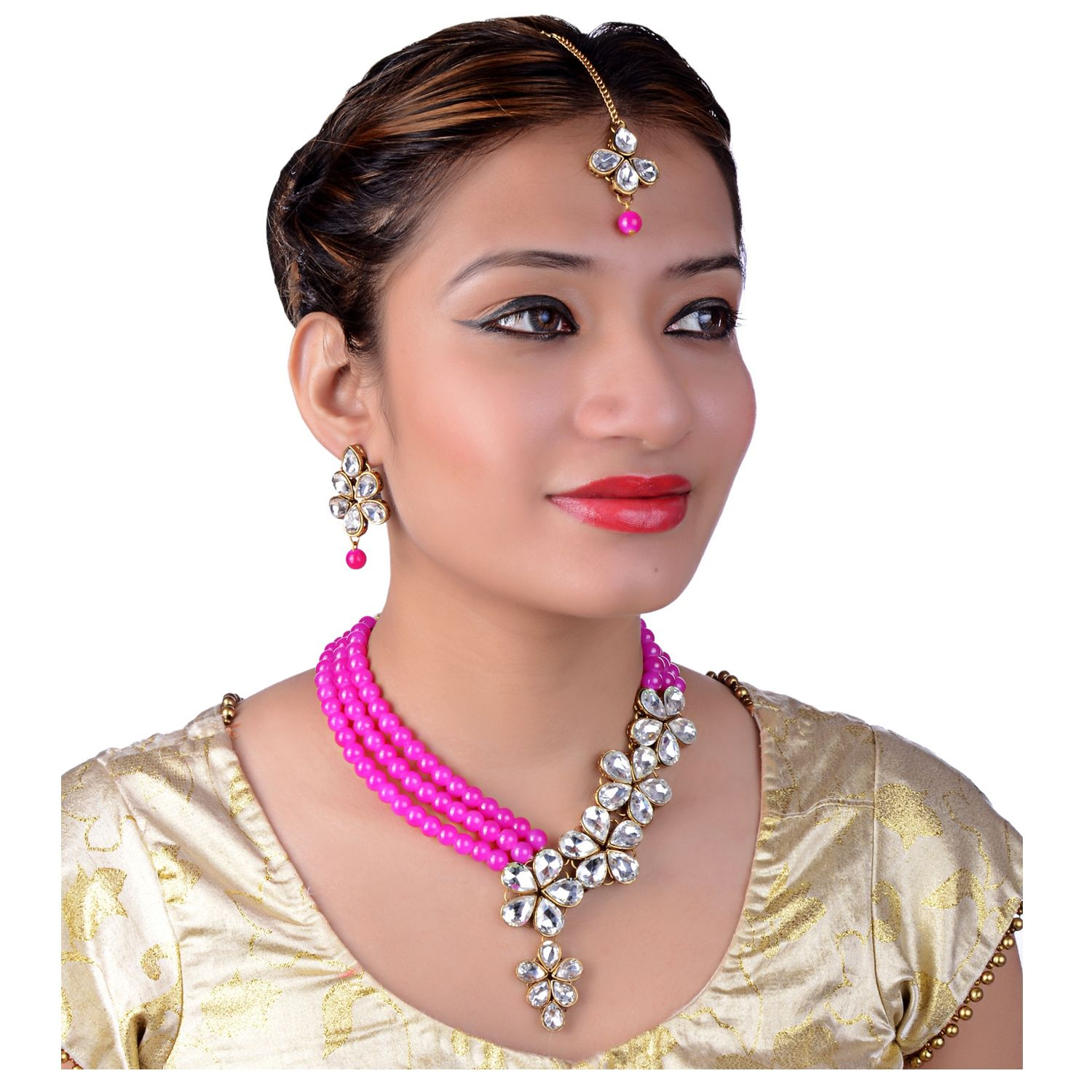 Lucky Jewellery Designer Magenta Color Three Layered Pearl Necklace Set For Girls & Women