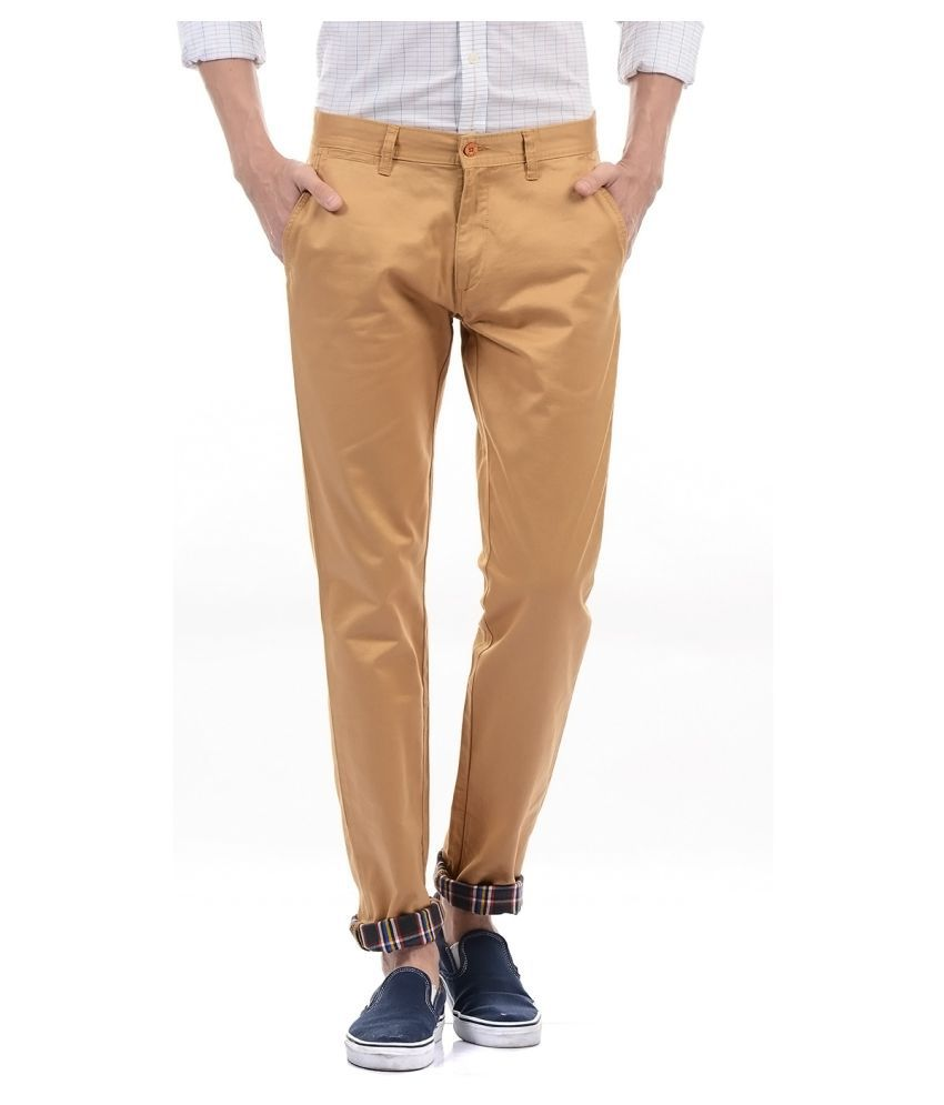 Izod Brown Regular -Fit Flat Trousers