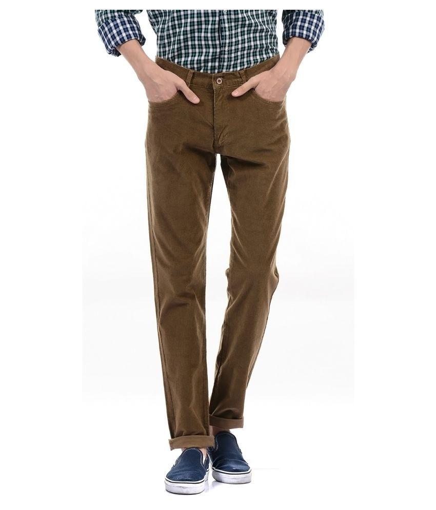 Izod Brown Regular -Fit Flat Trousers