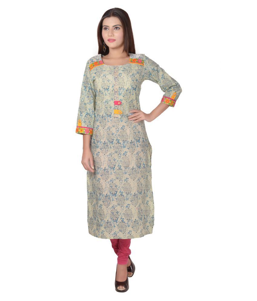 Metro Fashion Blue Cotton Straight Kurti