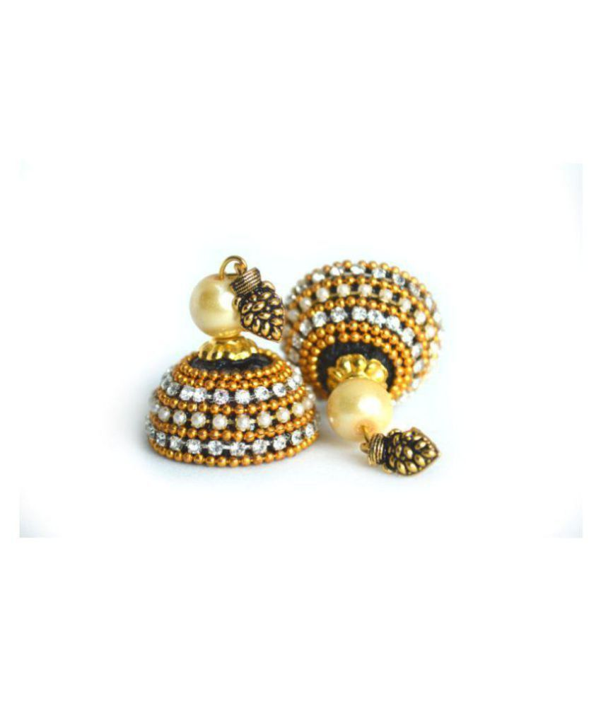 DarkLady's Silk Thread Jhumka-Drop Earring (Black & Golden Combination) Glossy Finish / Bead Work For Women & Girls