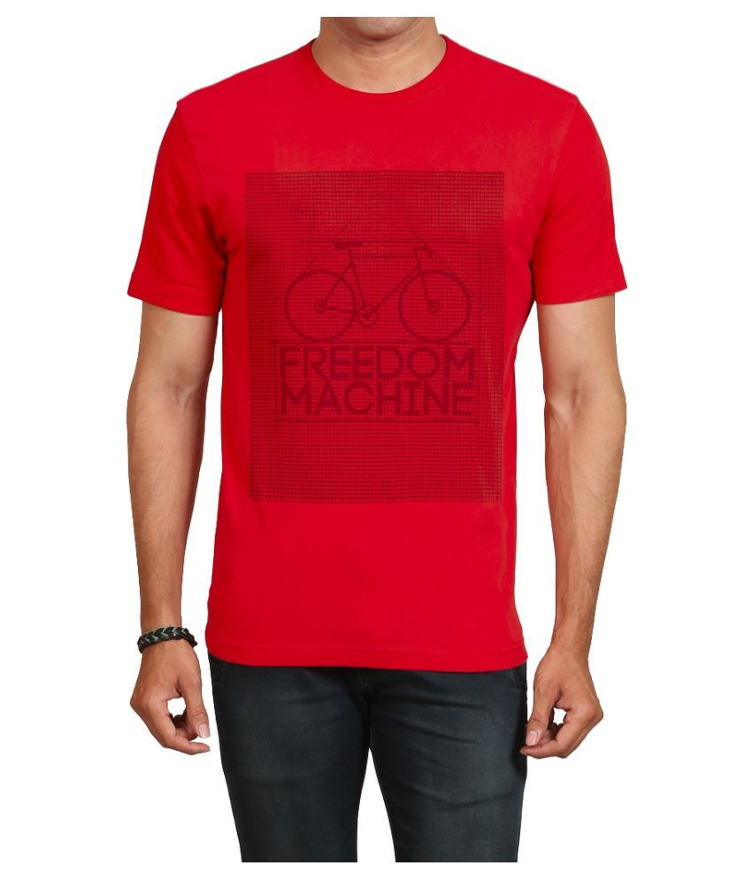 IND TWIST Red Round T-Shirt Pack of 1