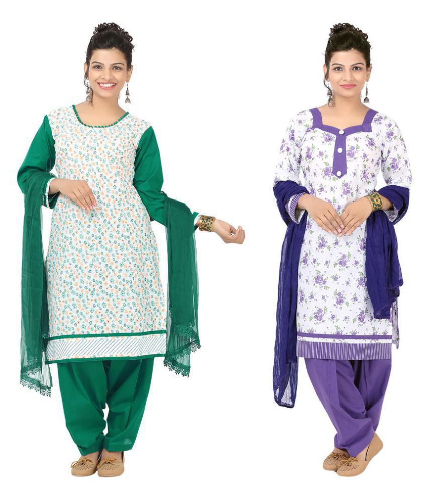 Indian Fair Lady Multicoloured Cotton Straight Stitched Suit