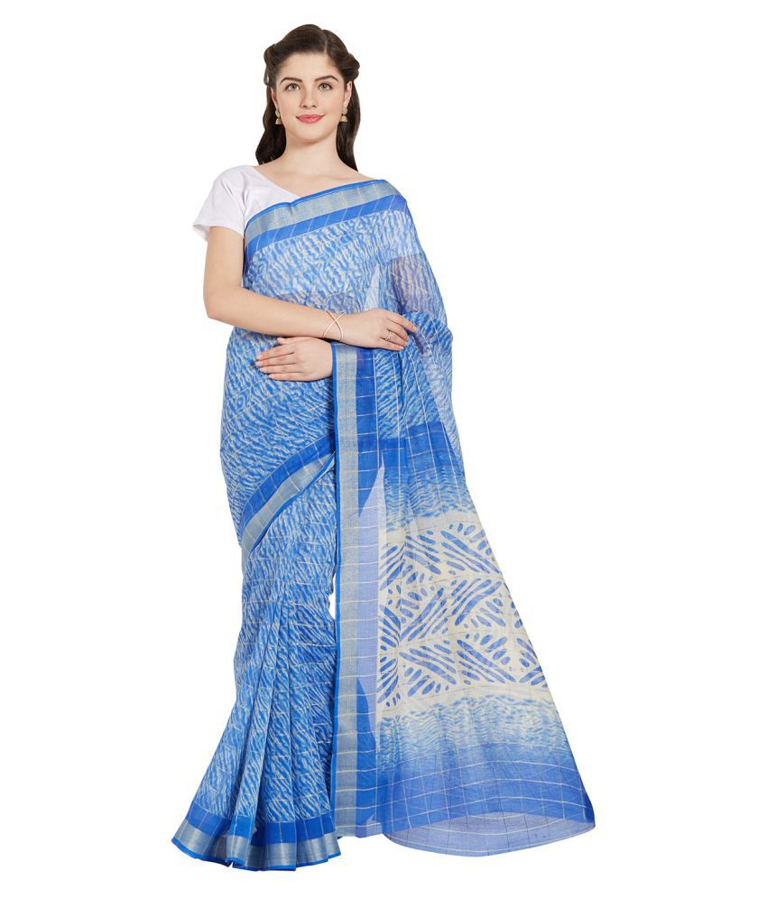 Jashn Blue Super Net Saree