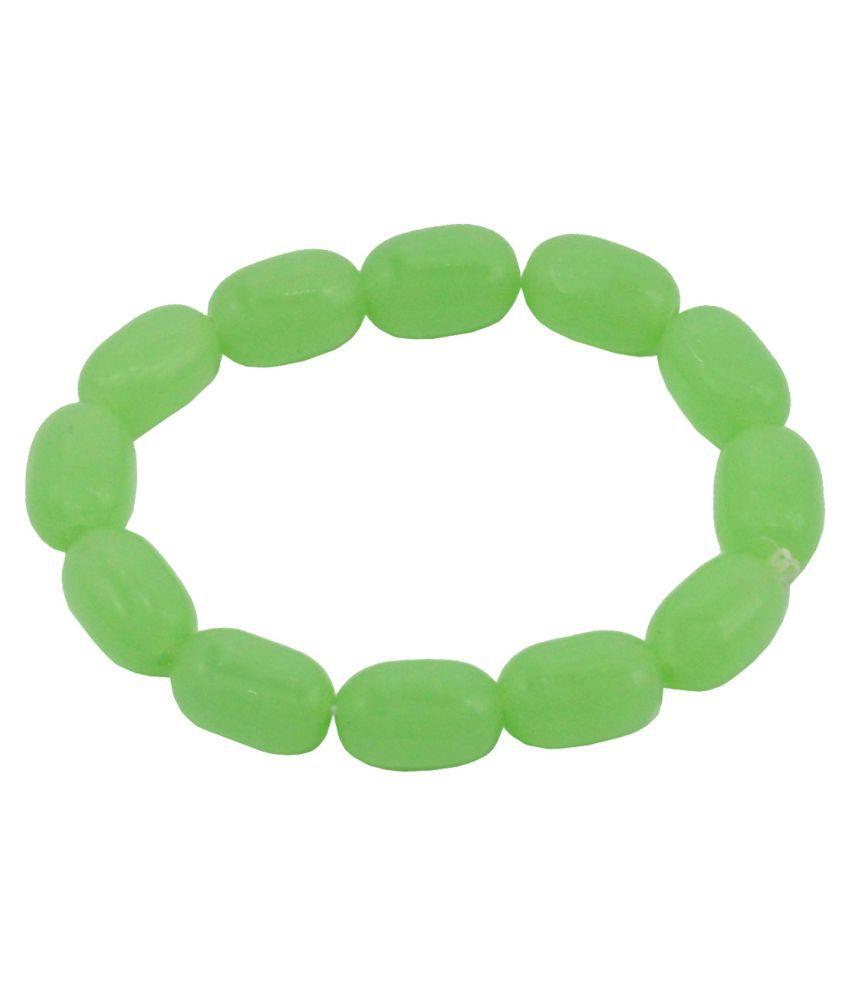 Shiv Jagdamba  Onyx Agate 10mm Beads Streachable   Green  Onyx And Nylon  Bracelet