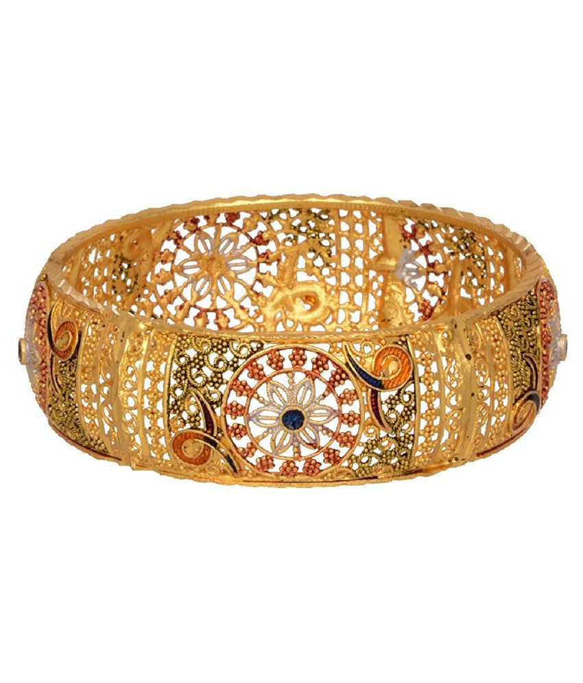 Aabhu Gold Plated Enamel Style Gold Plated Bangle Kada Set Jewellery For Women And Girl