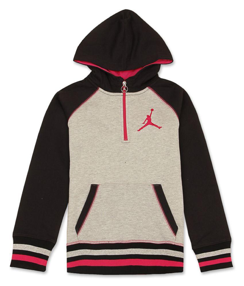 Jordan Girls Grey Full Sleeve Sweat Shirt