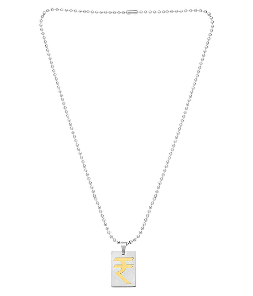 Dare by Voylla Indian Rupees Symbol Dual Tone Pendant from Faith and Trust