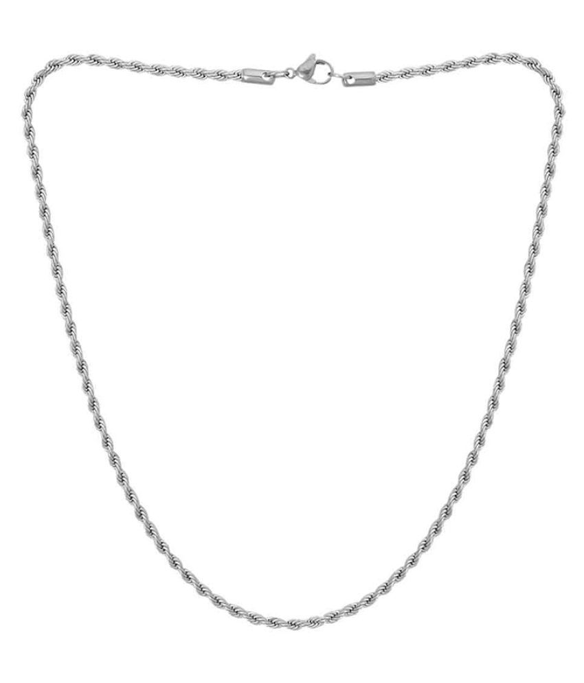 Dare by Voylla Silver Plated Twisted Pattern Chain For Men
