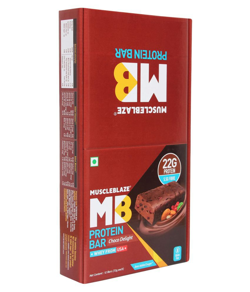 MuscleBlaze MB Protein Bar (Pack of 12), 72 Protein Bar 864