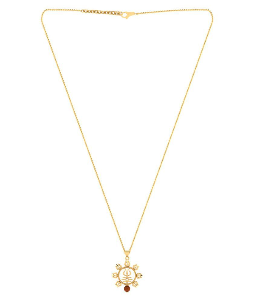 Dare by Voylla Trishul With Rudraksha Studded Pendant With Chain For Men