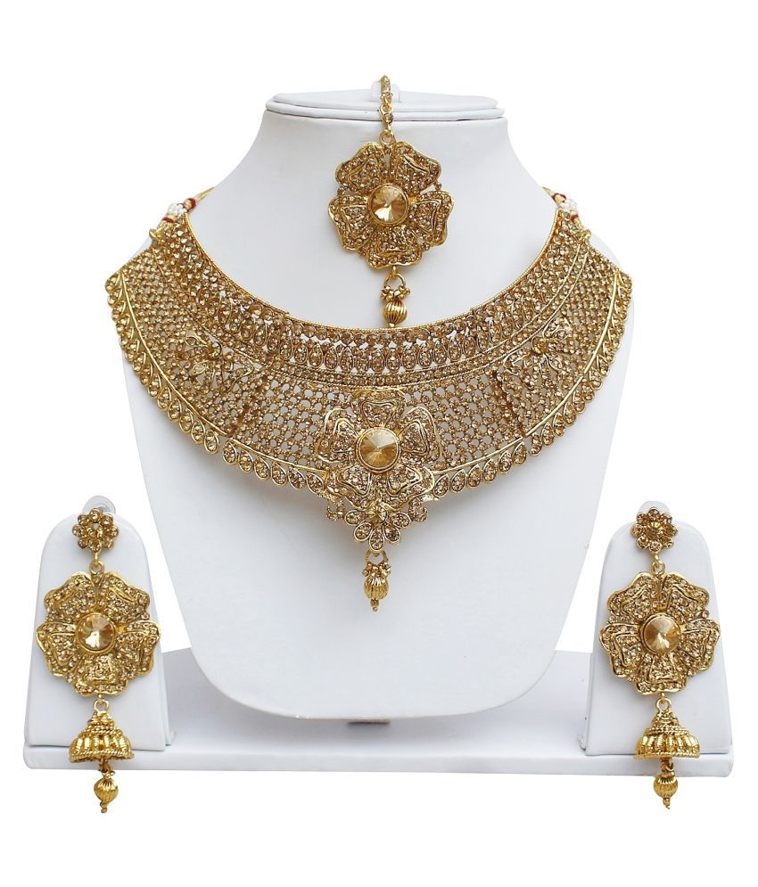Lucky Jewellery Designer Golden Color Stone Necklace Set For Girls & Women